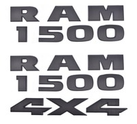 3x OEM RAM 1500 plus 4x4 Emblems Badge 3D Emblem Decal Nameplate Black Matt for Dodge