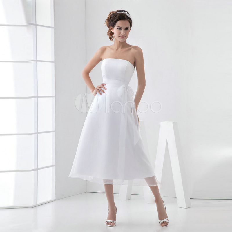 Wedding Gowns With Sashes: Pure White Bow Sash Short Wedding Dresses Strapless 2017