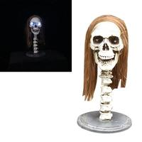 1pc Eye Lighting Long Hair Skull Halloween Prop Skeleton Ornament Decoration For Haunted House Halloween Party Bar Restaurant A3