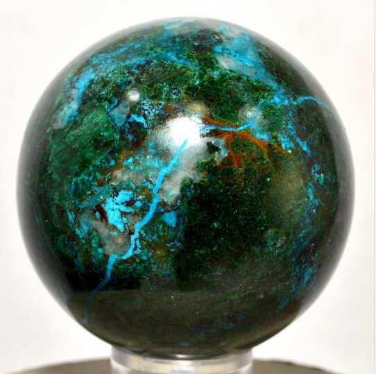 SUIRONG---411 + + +シリカ珪孔雀石w/マラカイト球ポリッシュクリスタルボールペルー
