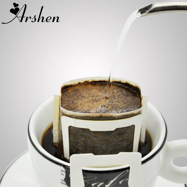 Arshen New 50pcs/Set Portable Drip Coffee Cup Filter Bags Hanging Cup Coffee Filters Tea Tool Home Office Useful Coffee Tool 1