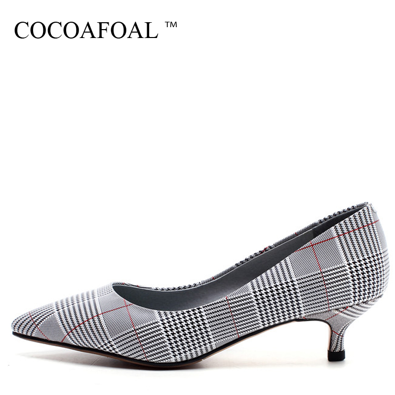 COCOAFOAL Woman Pointed Toe Pumps Gray Fashion Sexy High Heels Shoes Party Shallow Genuine Leather Plus Size 32 - 43 Pump 2018 spring autumn shoes woman pointed toe metal buckle shallow 11 plus size thick heels shoes sexy career super high heel shoes