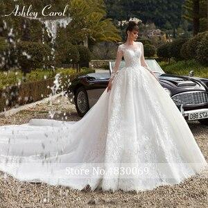 Image 4 - Ashley Carol Spitze Ballkleid Hochzeit Kleider 2020 Lange Ärmeln Prinzessin Oansatz Appliques Lace Up Taste Luxus Königliche Brautkleider
