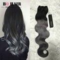 BQ 8A Cabelo Mink Cinza Escuro Do Cabelo Humano Malaio Ombre Cabelo Virgem 3 Pacotes Onda Do Corpo 10-18 Polegadas Produtos para o cabelo