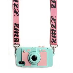 Image 5 - Новейший кошелек для камеры и карт, чехол для телефона iPhone 11 pro XS MAX XR X 7 8 plus 6 6s plus, мягкий силиконовый чехол на плечо с длинным ремешком