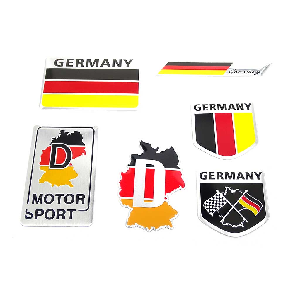 3d metal aluminium car emblem germany german flag emblem grille badge decal sticker racing motorsports for bmw vw benz