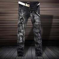 Luxe 3D Imprimé Léopard Jeans Mode Slim Noir Pantalon D4190