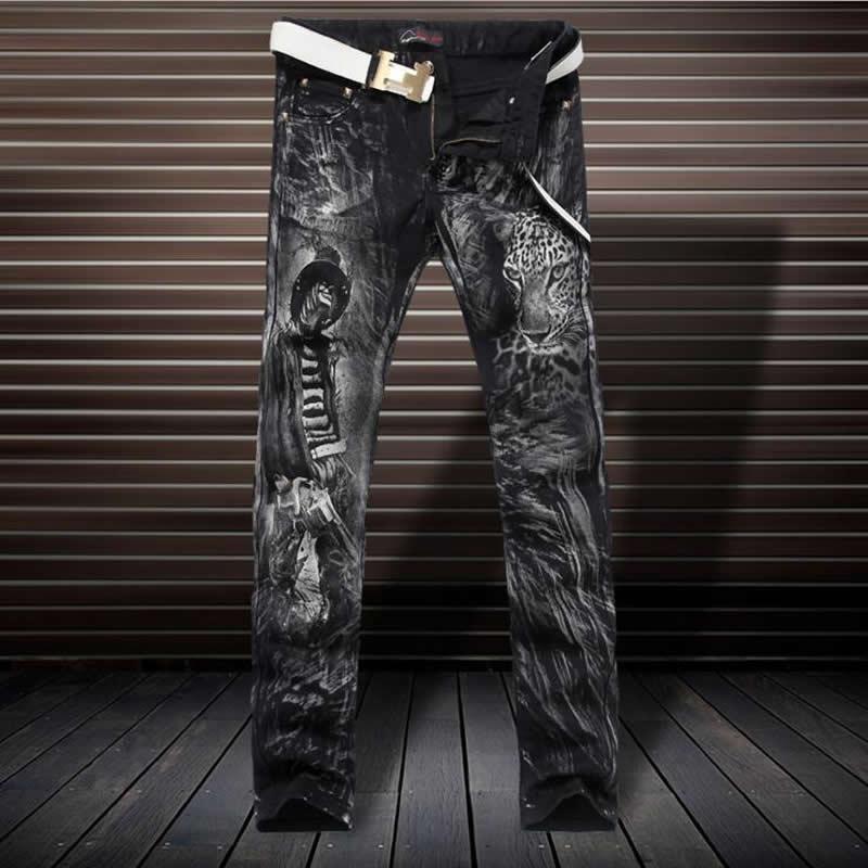 где купить Luxury 3D Leopard Print Jeans Fashion Slim Black Trousers D4190 по лучшей цене