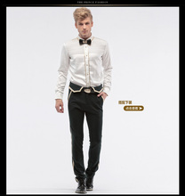 Free Shipping New fashion personality male Men s white Spring men fall design wedding dress long