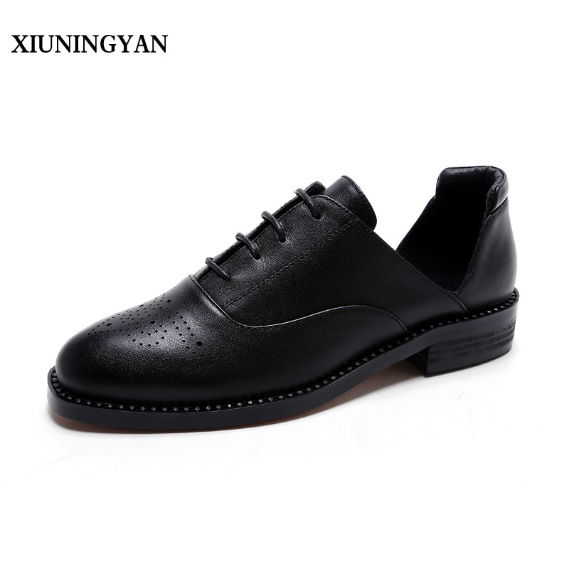 XIUNINGYAN Brand Shoes Woman Flats Cow Leather Women's Brogue Shoes 2018 New Spring/Autumn Loafers Bullock Female Vintage Shoes xiuningyan women leather brogue shoes spring autumn brand pointed toe women s flats fashion ladies elegant loafers soft oxfords