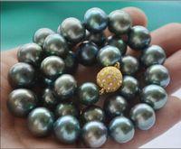 HUGE 1811 12MM NATURAL TAHITIAN GENUINE BLACK GREYISH GREEN PEARL NECKLACE