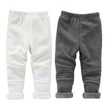 Зима теплая детские малыш девушок брюки основные эластичный пояс толщиной узкие брюки X16