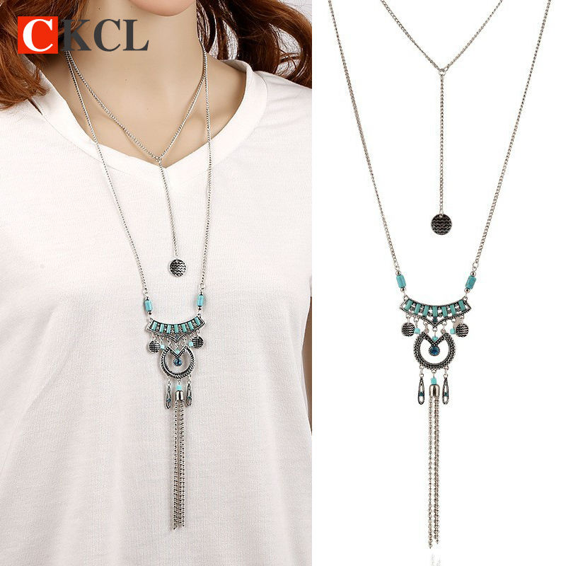 High Quality Bohemian Vintage font b Necklace b font Antique Silver Blue Turquoise Jewelry Long Tassel