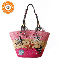 BONAMIE Brand Bohemian Handmade Embroidery Starfish Woven Lady Tote Handbag Shoulder Bag Summer Fashion Women S