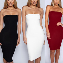 New Solid Strapless Sheath Woman Dresses Summer Sexy And Club Knee Length Body Con Female
