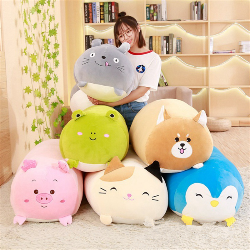 30CM Soft Animal Cartoon Pillow Cushion Cute Fat Dog Cat Totoro Penguin Pig Frog Plush Toy Stuffed Lovely kids Birthyday Gift