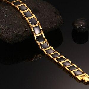 Image 5 - Vinterly Black Gold color Bracelets Men Hand Chain Bio Magnetic Germanium Bracelet Men Trendy Health Ceramic Men Jewelry CM021
