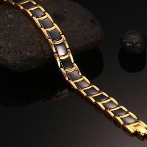 Image 5 - Vinterly שחור זהב צבע צמידי גברים יד שרשרת ביו מגנטי גרמניום צמיד גברים טרנדי בריאות קרמיקה גברים תכשיטי CM021