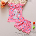 BibiCola Infant clothes toddler children summer baby girls clothing sets cartoon 2pcs cat  love clothes sets girls summer set
