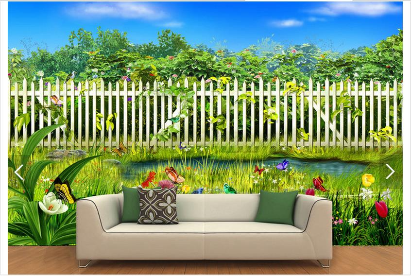 Customized 3d Photo Wallpaper 3d Wall Murals Wallpaper 3 D Garden Fencing  Wall Painting In The Background Wall Room Decoration In Wallpapers From  Home ...