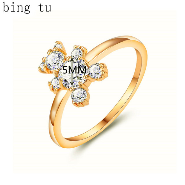 Aliexpress Buy Bing Tu Gold Color Bear Cubic Zirconia Party