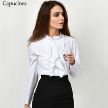 Capucines 2019 sweet office girl spring and summer solid color wooden ear round neck long-sleeved