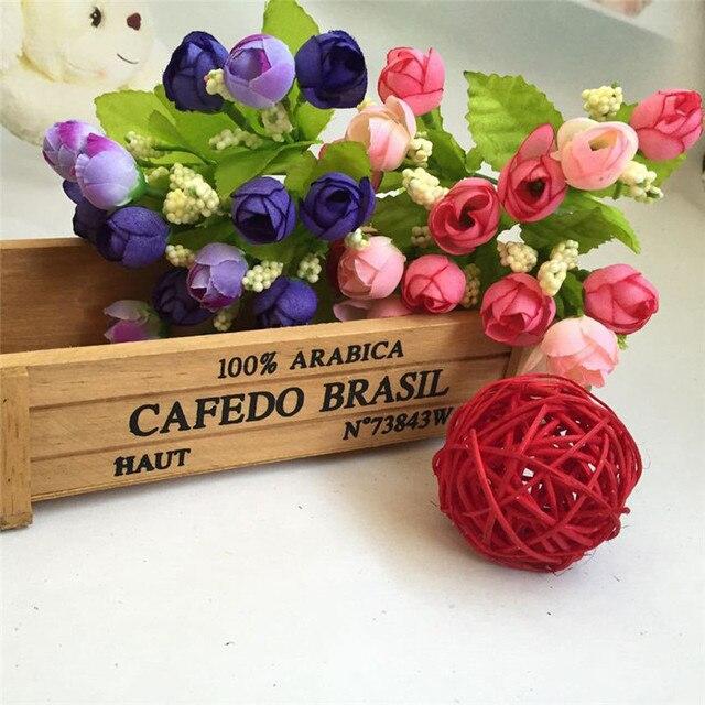 E5 artificial flowers wedding decoration diy 15 Heads Unusual 15 Heads Unusual Artificial Rose Silk Fake Flower Leaf Home Decor
