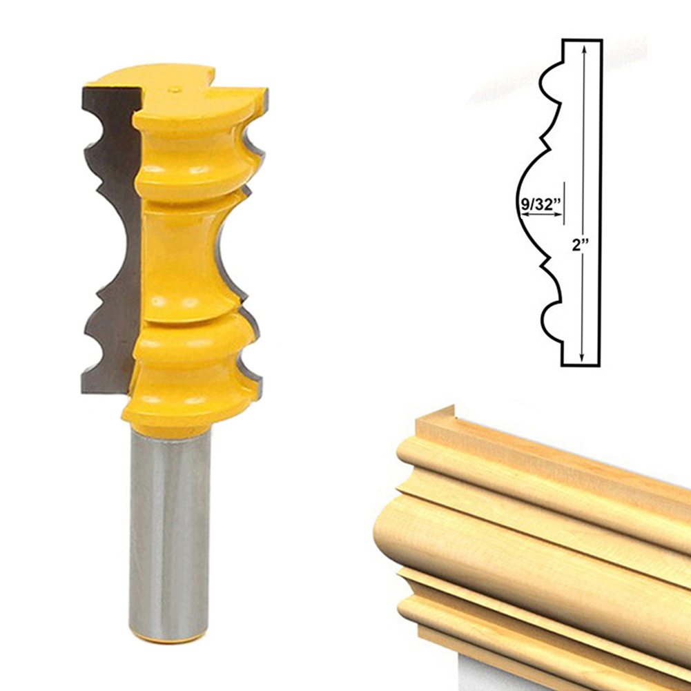 Rail Molding Router Bit 1/2 Shank Carbide Woodworking Milling Cutter Cabinet Plywood Wood Cut Cutting Bit 16pcs 14 25mm carbide milling cutter router bit buddha ball woodworking tools wooden beads ball blade drills bit molding tool