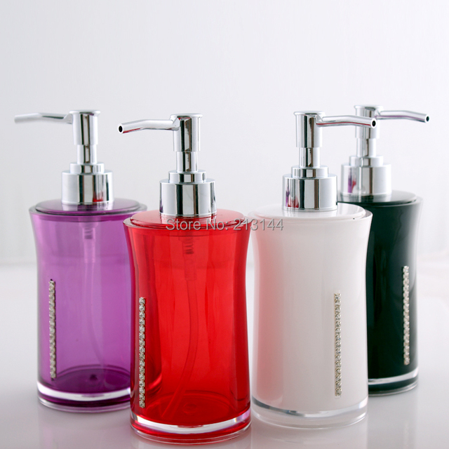 Bathroom Accessories Hand Soap Dispensers Acrylic Diamond Colorful Liquid Sanitary Unit Holder
