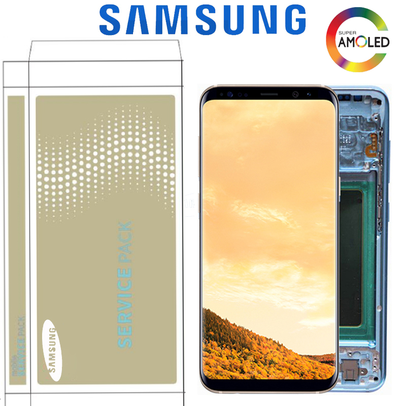 Original Burn-Shadow LCD For Samsung S8 G950 G950U G950F S8 Plus G955 G955F Display Touch Screen Digitizer Assembly With Frame