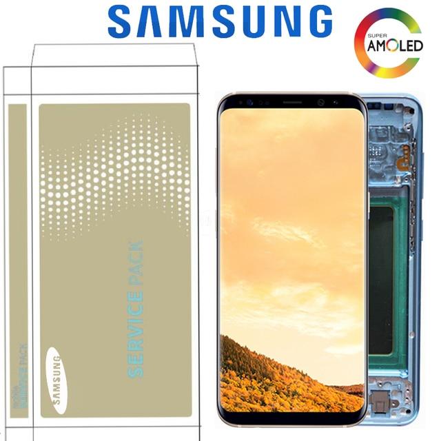 LCD Original para Samsung S8 G950 G950U G950F S8 Plus G955 G955F Montaje del digitalizador de pantalla táctil con marco