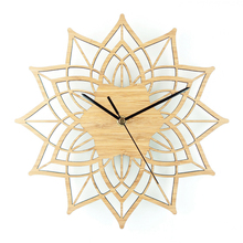 Bamboo Lotus Flowers Wall Clock Creative Watch Modern Design Silent 12""