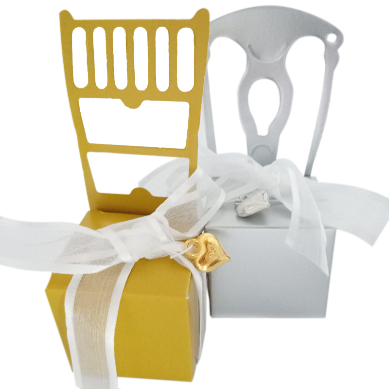 10pcs/lot Golden/silver Chair Romantic Candy Packing Bag With Ribbon& Accessories Decoration Wedding & Party Favors Event & Party