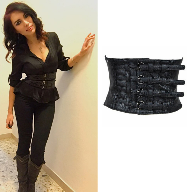 bg-007 women's fashion wide designer corset belt PU black leather belt comfortable stretch belts online