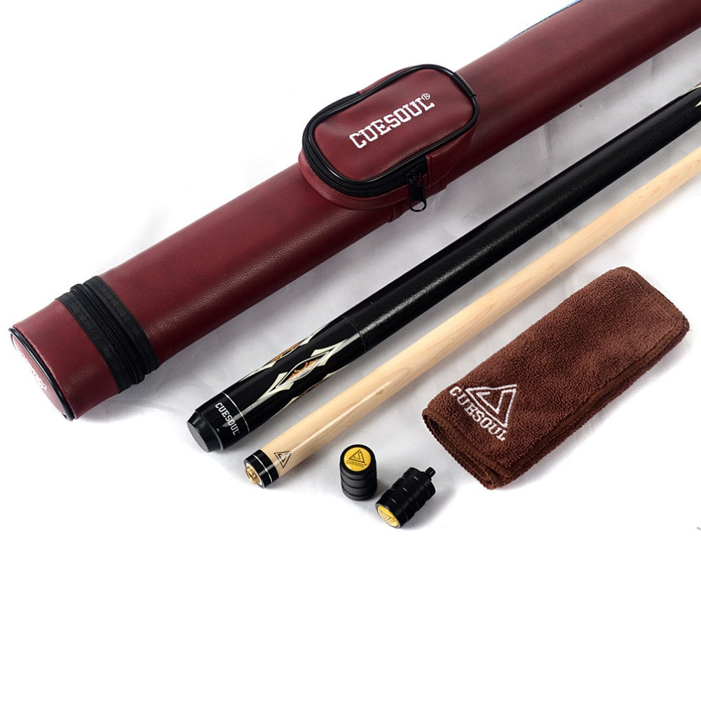 CUESOUL Nice 1/2 Jointed Pool Cue Stick Billiard Cue with Red Case & 13mm Cue Tip & Clean Towel & Cue Joint Protector