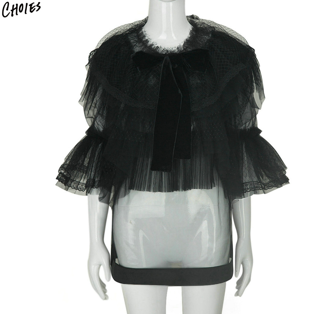 Black and White Sheer Mesh Layered Ruffles BowTie Front Structured Women Blouse 2017 New Three Quarter Flare Sleeve O Neck Top