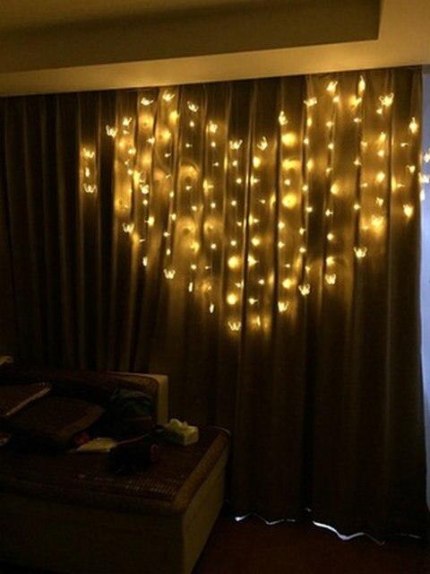 € 12.28 15% de réduction|Papillon 2 M * 1.5 M 124 LED en forme de coeur LED  fée chaîne glaçon rideau lumière 16 hang Valentine noël noël ...