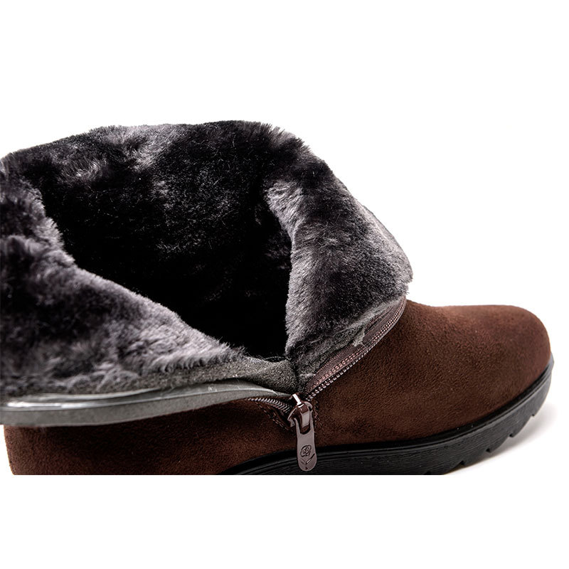Fashion Women Snow Boots Mother Mom Wedges Platform Female Winter Ankle Boots Zip Snow Boots zapatos de mujer platform bowkont flocking snow boots