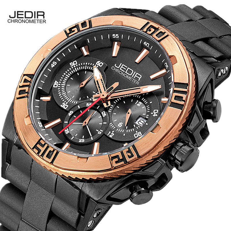 JEDIR Luxury Gold Chronograph Quartz Watch Mens Military Army Silicone Wrist Watches Waterproof Male Clock Auto Date Gift Hours jedir brand luxury watch men army military leather watches male sport waterproof watches business chronograph quartz wristwatch