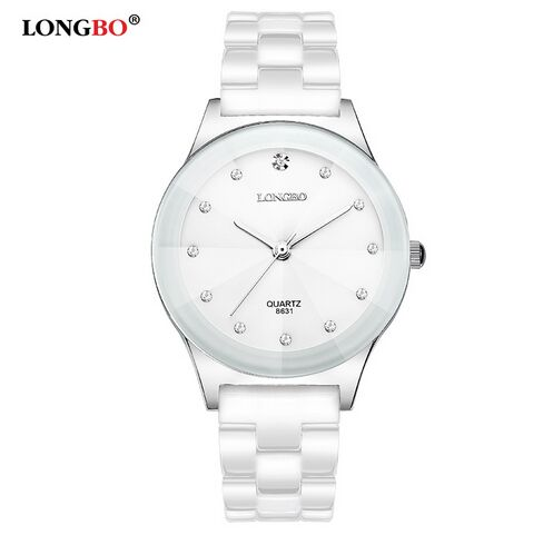 LONGBO Luxury Brand Rhinestone Business Casual Men Fashion Clock Leisure Water Resistant Women Dress White Ceramic Quartz Watch