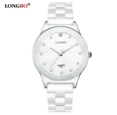 LONGBO marque de luxe strass affaires décontracté hommes mode horloge loisirs résistant à l'eau femmes robe blanc en céramique montre à Quartz