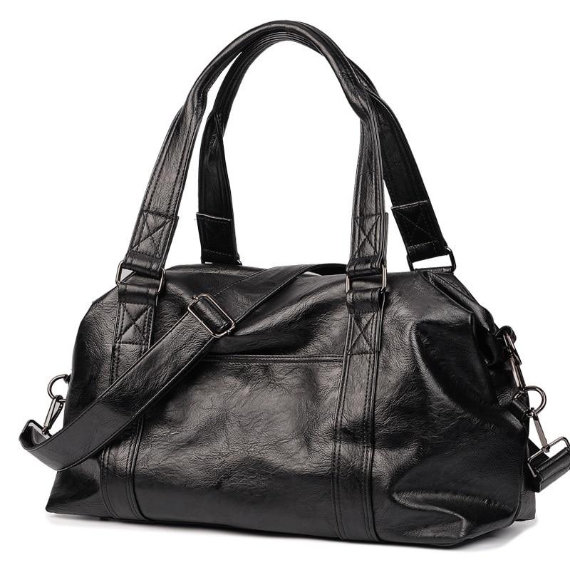 Luxury Brand Leather Men Travel Bag Black Bucket Business Handbag Shoulder Bag Casual Tote Large Capacity Men Luggage Duffle Bag