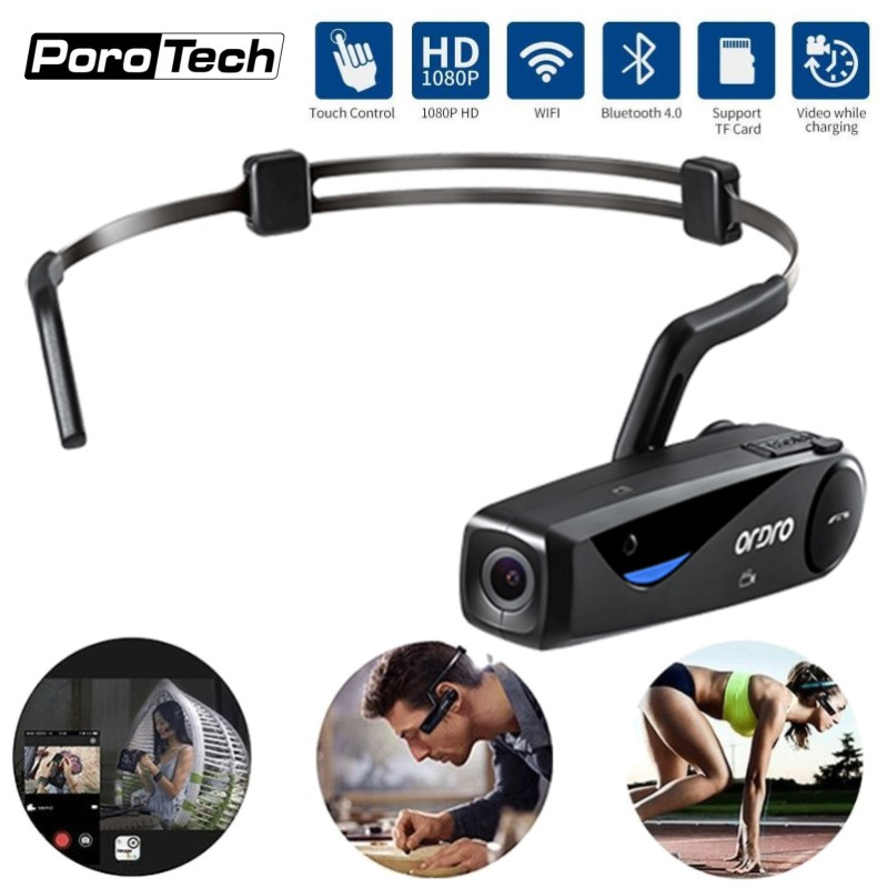 EP5 Digital Camera 1080P HD Bluetooth Earphone Sports Video Camera Cycling Recorder Touch Control Listen Music WiFi Share Video