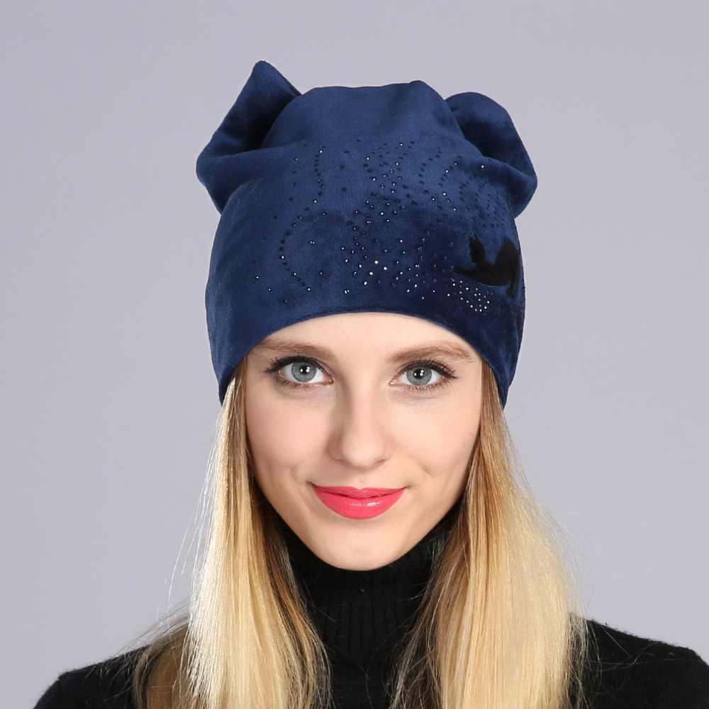 Gorro gorro feminino inverno casual gorro de veludo quente com strass senhoras gato orelha beanies chapéu toucas feminino inverno