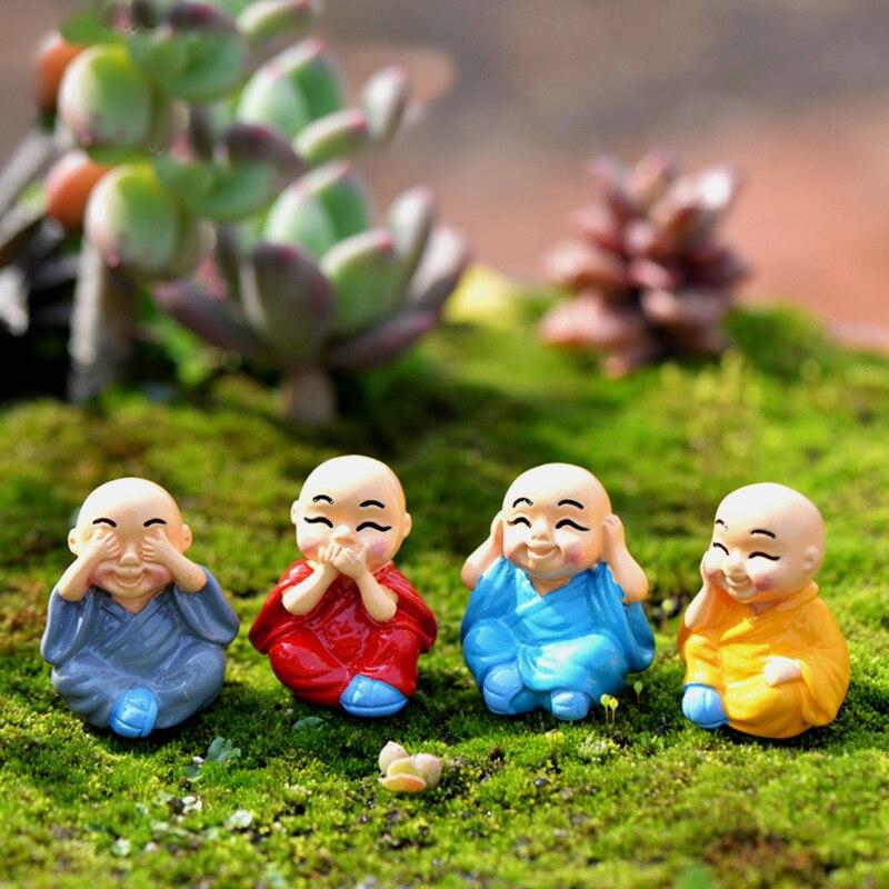 Mini Figurine Buddhist Monk Dolls Anime Action Figure Fairy Garden Terrarium Miniatures Micro Landscape Decor Home Decorations