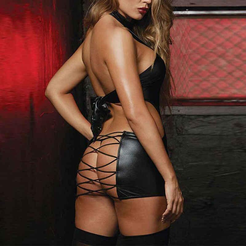 Дамское пикантный из искусственной кожи платье с открытой спиной и шнуровкой женское платье-стринги Черный Холтер Клубная одежда