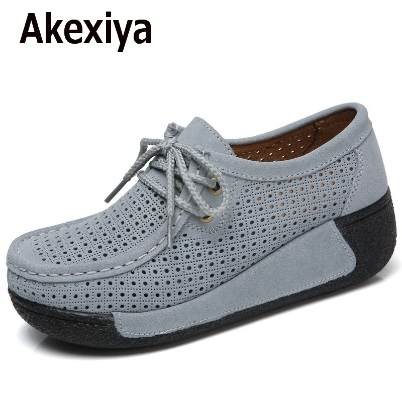 Akexiya Women Flats Platform Shoes Suede Leather Lace up women Moccasins Creepers slipony Female Casual Summer Shoes Ladies 2017 akexiya women shoes for summer casual shoes lace up breathable mesh shoes unisex light platform flats 3 colors size plus 35 46