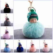 Doll Keychain Car-Keyring Fluffy Flower Pompom Rabbit-Fur-Ball Baby