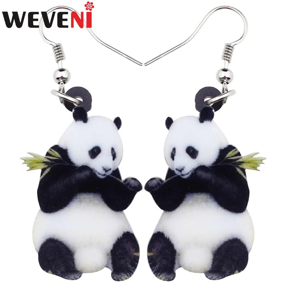 WEVENI Acrylic Cartoon Lovely Panda Earrings Big Long Dangle Drop Fashion Animal Jewelry For Women Girls Ladies Teens Wholesale
