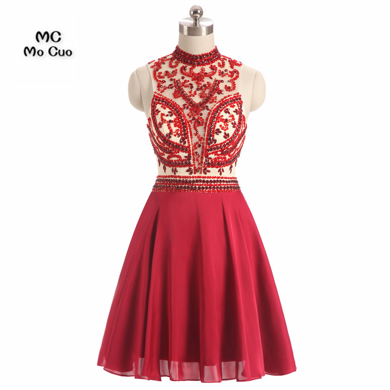 2017 New Burgundy Homecoming dress Short High Neck Cocktail party dress Crystals Beaded Chiffon Homecoming dresses